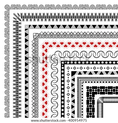 Set of pattern brushes with corner elements to create frames. You can use to decorate printed products and textiles. Vector illustration - stock vector