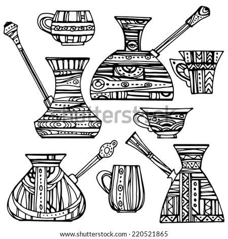 Set of patterned Turkish coffee pots. Patterned Turkish coffee pots and cups, hand-drawn design elements. - stock vector