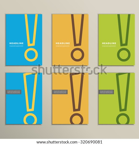 Set of patterns brochures with an exclamation mark - stock vector