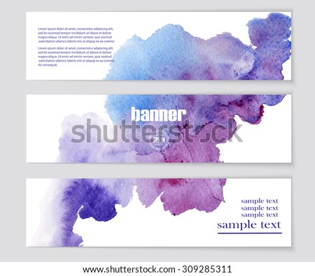 Set of patterns for design banners, covers, posters, web-pages in watercolor style. Abstract modern backgrounds. Vector EPS10 illustration - stock vector