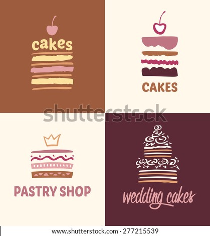 Set of patterns vector logos cakes. Logo confectionery, coffee shop. Big cakes with fillings and wedding cakes.