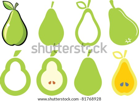 set of pears - stock vector