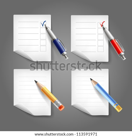 Set of pen, pencil and paper. Vector collection - stock vector