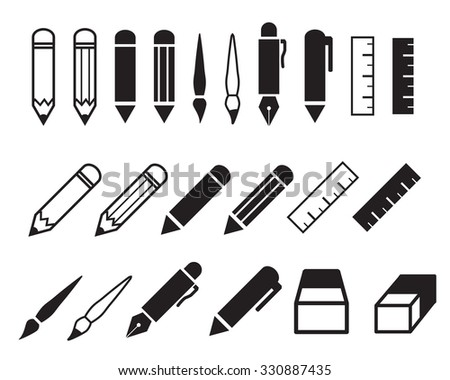 Set of pencil and pen icons, vector object - stock vector