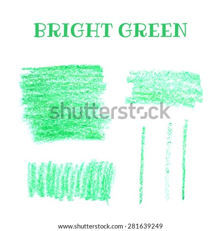 Set of pencil art objects. Sketch design. Green pencil texture. Grunge background. Vector illustration. - stock vector