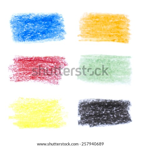 Set of pencil art objects. Sketch design. Varicolored pencil texture. Grunge background. Hand drawn banners. Vector illustration. - stock vector