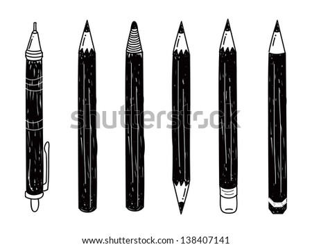 set of pencil doodle - stock vector
