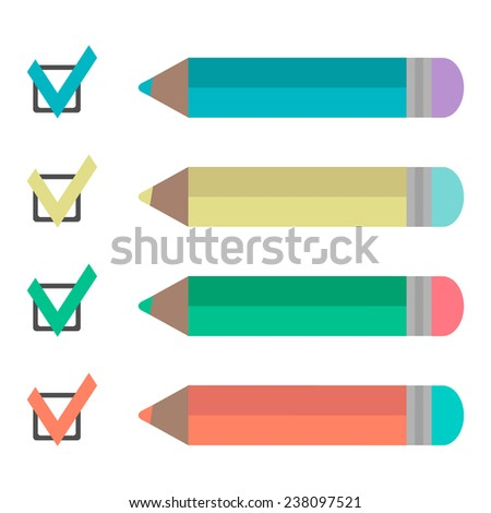 set of pencils and check marks. isolated on white background. flat design modern vector illustration - stock vector