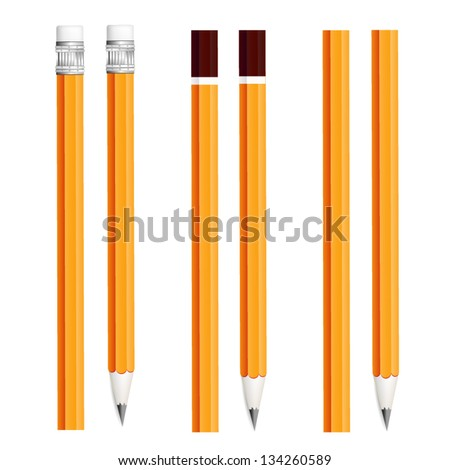 Set of  pencils isolated on white background