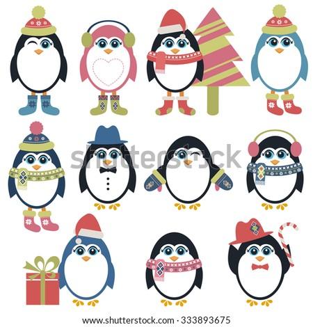 Set of penguins in winter - stock vector