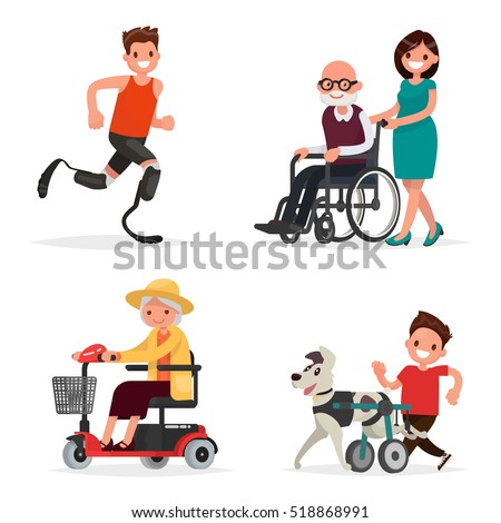 Set of people and pets with disabilities. Athlete, grandparents on Wheel-chair and dog on a wheelchair  for hind paws. Vector illustration in a flat style
