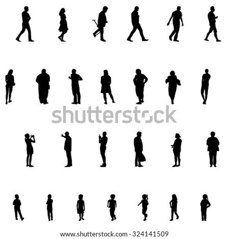 Set of People. Children, Adults, Seniors. Vector Illustration. EPS10 - stock vector