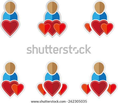 Set of people flat symbols with hearts