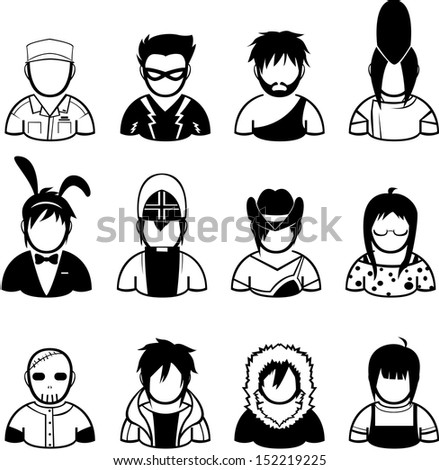 set of people icon in fashionable dress - stock vector