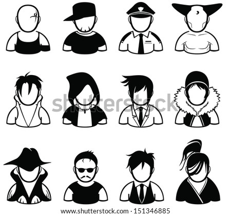set of people icon in various uniform - stock vector