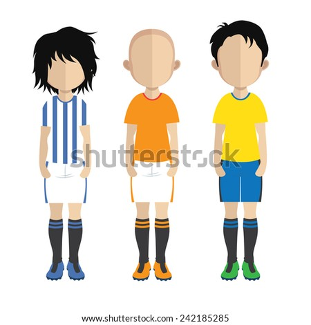 Set of people icons in flat style soccer players - stock vector