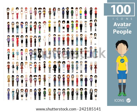 Set of people icons in flat style. Vector women, men character  - stock vector