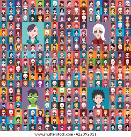 Set of people icons in flat style with faces - stock vector