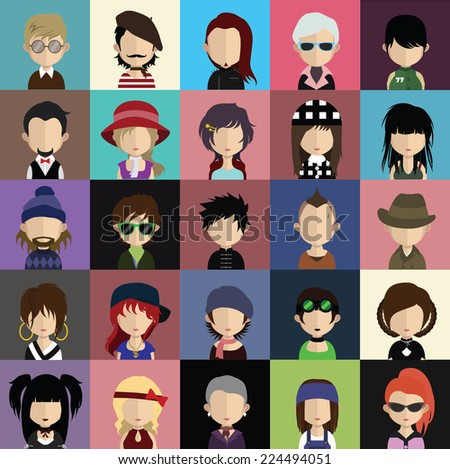 Set of 25 people icons in flat style with faces. Vector women, men character - stock vector
