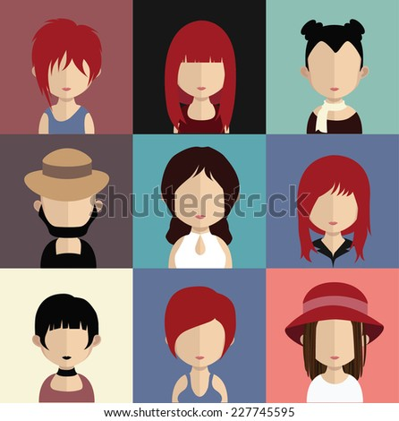Set of 9 people icons in flat style with faces. Vector women, men character - stock vector