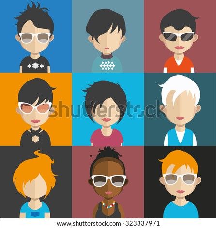 Set of people icons in flat style with faces. Vector women, men character Set 25 a - stock vector