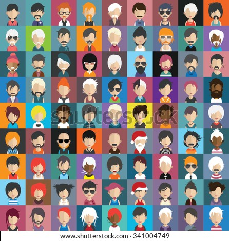 Set of people icons in flat style with faces. Vector women, men character Set 32 a - stock vector