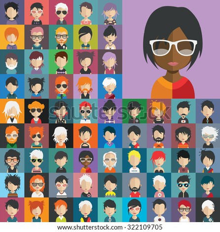 Set of people icons in flat style with faces. Vector women, men character Set 22 b - stock vector