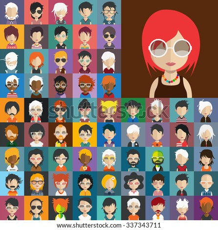 Set of people icons in flat style with faces. Vector women, men character Set 30 b - stock vector
