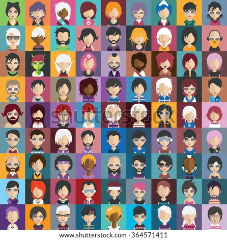 Set of people icons in flat style with faces. Vector women, men characters - stock vector