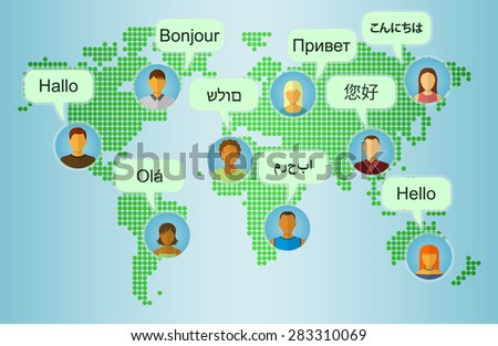 Set of People Icons on Earth Map Background with Speech Bubbles with greetings in many languages. Communication and People Connection Concept. Flat Design. Vector Illustration - stock vector