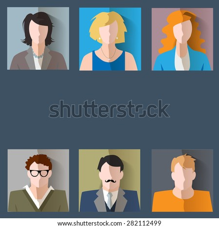 Set of people icons with faces. Vector women, men character - stock vector