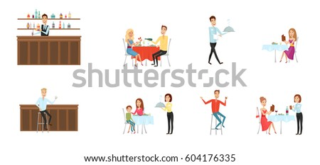 Restaurant Background With People set people restaurant bar flat cartoon stock vector 604176365