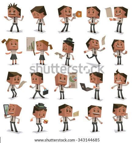 Set of People in the office in cubist style, 20 characters doing work with different emotions, vector - stock vector