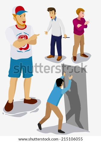 set of people isometric vector. boss and his employee - stock vector
