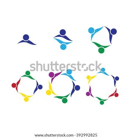 Set of people logo. People together celebrating, Leader concept. Corporate Management Vector symbol. Social network. lively community - stock vector