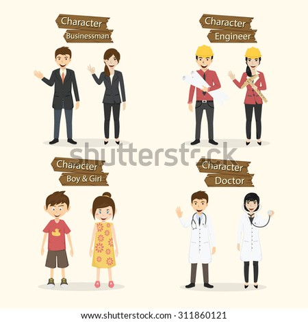 Set of people occupation characters vector illustration. - stock vector