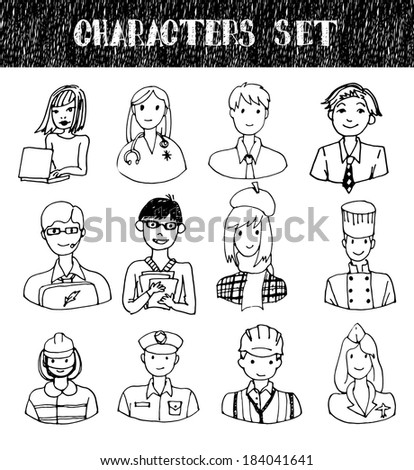 Set of People Occupations Doodles. Vector illustration. - stock vector