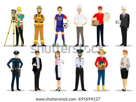 Set people different professions career characters stock for Character designer job