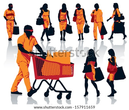 Set of people silhouettes. Happy shopping people holding bags with products. EPS 10.  - stock vector