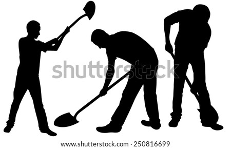 set of people silhouettes with shovels - stock vector