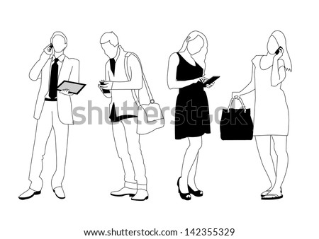 set of people using smart devices - stock vector