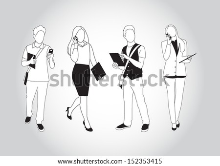 Set of people using smart phones and devices - stock vector