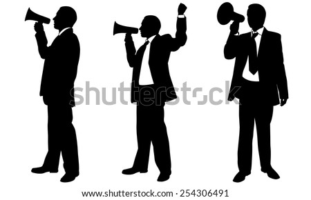 set of people with megaphone - stock vector