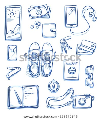 Set of personal belongings being assembled for a travel, journey, trip. Icons for a young modern hipster lifestyle, hand drawn vector illustration - stock vector