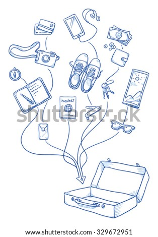Set of personal belongings being put in a suitcase for a travel, journey. Young modern lifestyle hand drawn vector illustration - stock vector