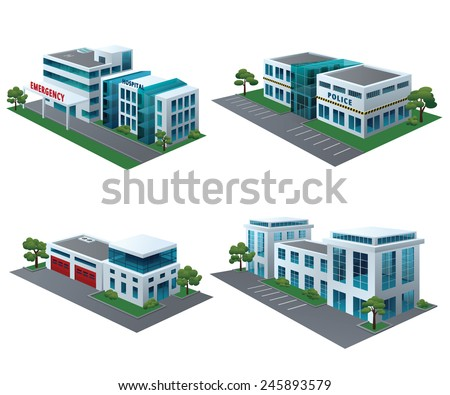 Set of perspective community buildings: hospital, fire station, police and office building. - stock vector
