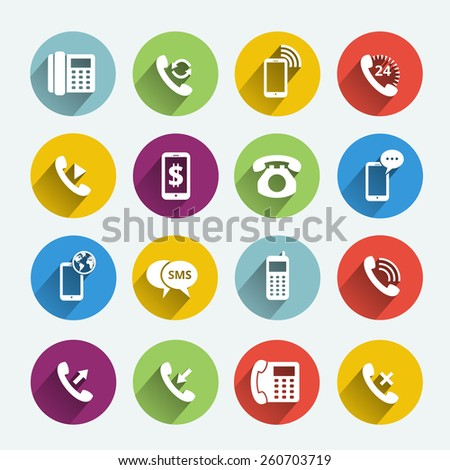 Set of phone handset flat icons isolated in colored circles. Vector illustration - stock vector