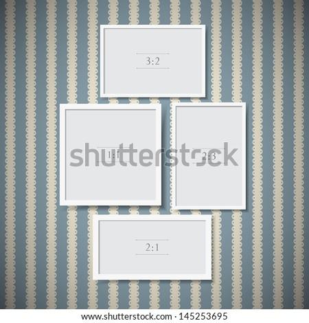 Set of photo frames on vintage background - stock vector