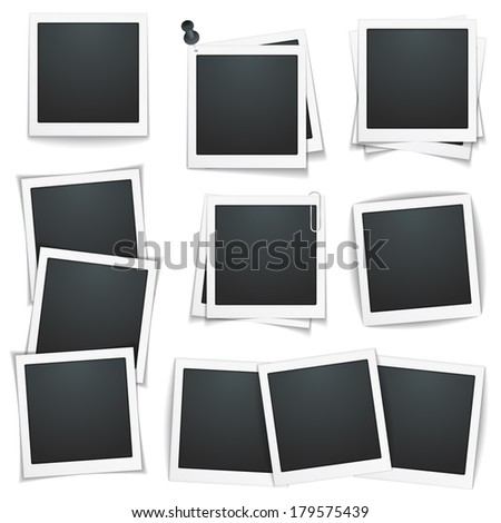 Set of photo frames on white background, vector eps10 illustration - stock vector