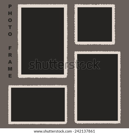 Set of Photo Frames with Rough Edges. Vector Illustration for Your Photos Decoration - stock vector